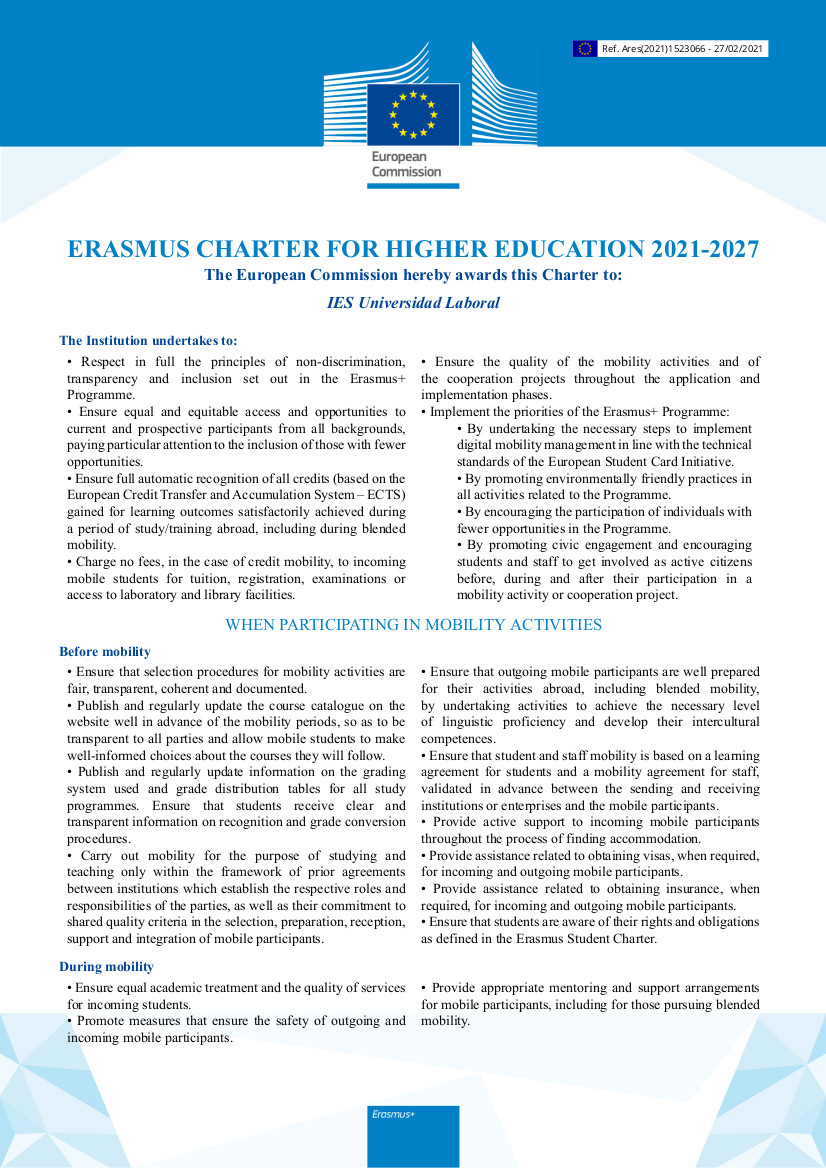 Erasmus CharterHigherEducationfirmado
